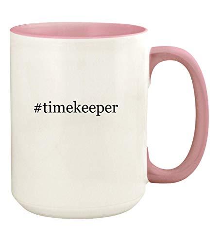 #timekeeper - 15oz Hashtag Ceramic Colored Handle and Inside Coffee Mug Cup, Pink