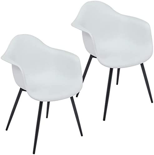 Duhome Set of 2 Modern Dining Chairs Easily Assemble Mid Century Plastic Shell Cozy Arm Chair