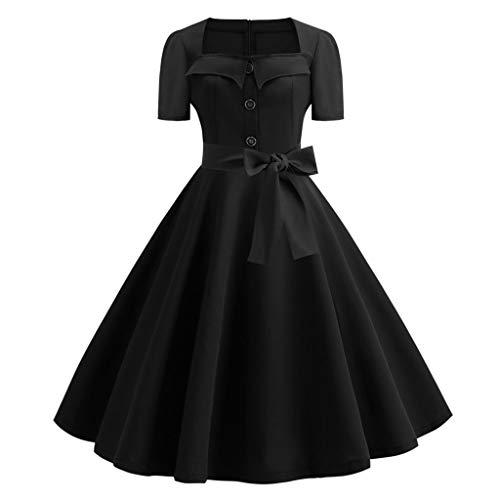 Caopixx Dress for Women's Elegant Classy V-Neck Audrey Hepburn 1950s Vintage Rockabilly Swing Dress (Fendi Junior)