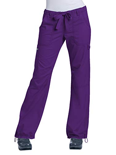 KOI Women's Lindsey Ultra Comfortable Cargo Style Scrub Pants, Grape, Large