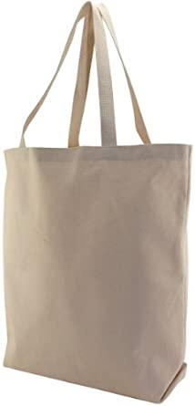 School Smart Canvas Large Heavy Duty Washable Tote Bag, 16-3/4 X 17-1/2 X 5 in, Natural
