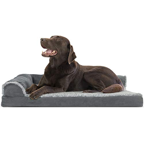 Furhaven Pet Dog Bed | Deluxe Orthopedic Two-Tone Plush Faux Fur & Suede L Shaped Corner Chaise Lounge Sofa-Style Living Room Couch Pet Bed for Dogs & Cats, Stone Gray, Large