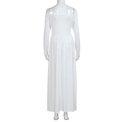 del Maxi Mujer hombro Fuera Manga Vestido WINWINTOM Vestir Maternidad Blanco larga Fotografía Embarazada FnvwqpF0
