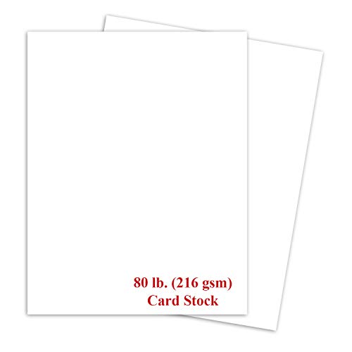 White Thick Paper Cardstock - for Brochure, Invitations, Stationary Printing | 80 lb Card Stock | 8.5 x 11 inch | Heavy Weight Cover Stock (216 gsm) 98 Brightness | 8 1/2 x 11 | 50 Sheets Per Pack ()