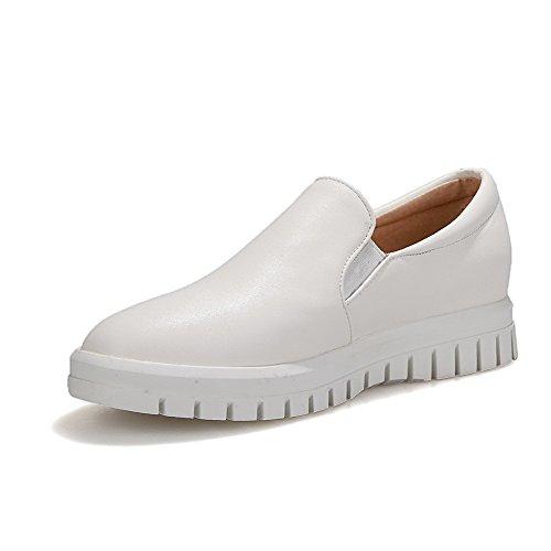 Pumps Kitten Shoes White on Round PU Pull Heels WeenFashion Toe Women's Closed Solid HxwfqTnAvZ