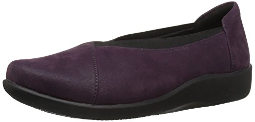 CLARKS Women's Sillian Holly Flat, Aubergine, 9 M US