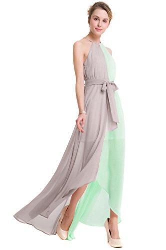 KAXIDY Soire Robe Robes de Robe de Plage Robe Elegante t Longue Gris vert Ceremonie Femme rYrqp