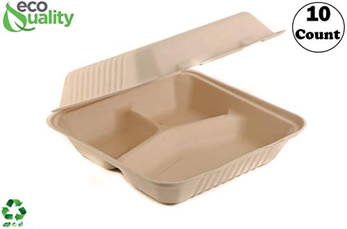 EcoQuality [10 Pack] 6 x 9 x 3 in Compostable Clam Shell Take Out Food Container - Sugarcane Bagasse, Tree Free - Restaurant Supplies, Microwavable, Bidodegradable, Recyclable, Heavy Duty (Rectangle)