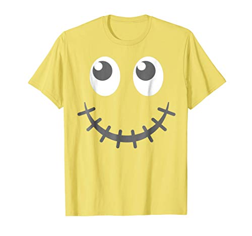 Halloween Zipper Mouth Emoticon Face Group Costume Shirt ()