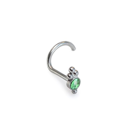 Surgical Steel Nose Stud with CZ Gemstone - works as tragus ring, cartilage earlobe helix earring