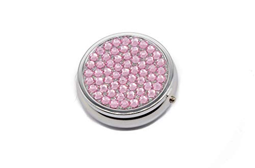 Pill Box for Purse - Small Portable Travel Pill Case Holder That Can Easily Fit In Your Pocket - Vintage Collectible Cases with 3 Compartments - Use Daily To Organize Your Medicine! (Rhinestone, Rose)