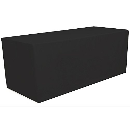 GWHome 4 ft x 2.5 ft Fitted Polyester Tablecloth Rectangular Table Cover Wedding Banquet Party (Black, 4 ft x 2.5 ft)
