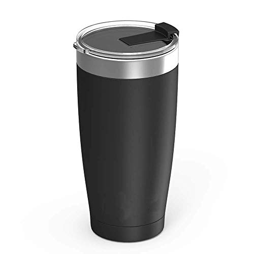 Jura Outdoor Tumbler 20 oz Stainless Steel Vacuum Insulated with Lids and Straw [Travel Mug] Double Wall Water Coffee Cup for Home, Office, Outdoor Works Great for Ice Drinks and Hot Beverage - Black (Best Insulated Tumbler With Lid)