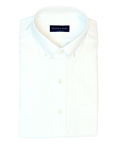 Button Down No Iron Pinpoint - Wilkes & Riley Tailored Fit Non-Iron White Supima Cotton Pinpoint Button Down