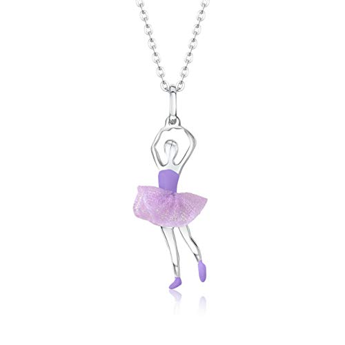 UNICORNJ Childrens Teens Sterling Silver 925 Ballerina Ballet Dancer Pendant Necklace with Purple Tulle Tutu and Enamel 16