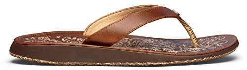 (OLUKAI Paniolo Natural/Natural Womens Leather Sandals - 7)