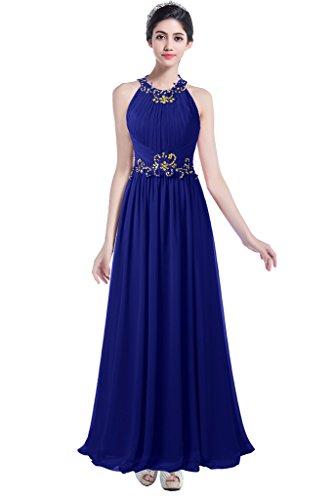 Ellames Beaded Long Chiffon Bridesmaid Dress Jewel Prom Evening Dress Royal Blue US 4