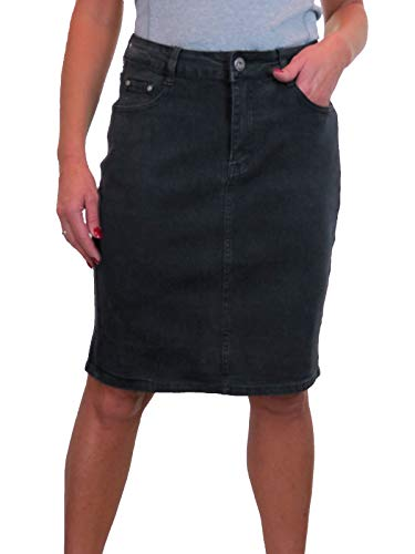 icecoolfashion Women's Knee Length Denim Skirt with Great Stretch Jeans Skirt 10-22