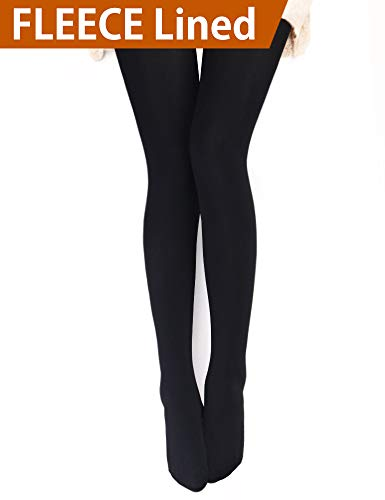 VERO MONTE 1 Pair Womens Opaque Warm Fleece Lined Tights (BLACK) 460121 ()
