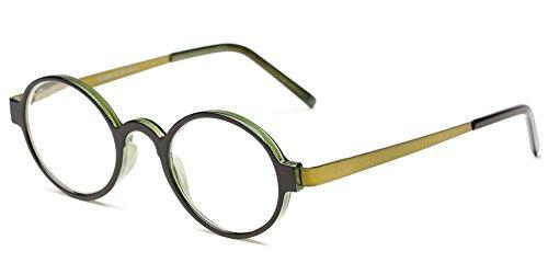 Readers.com The Elton +1.75 Black/Green Unisex Round Reading Glasses