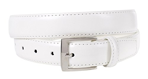 Sportoli Mens Classic Genuine Leather Metal Buckle Uniform Casual or Dress Belt - White (38) from Sportoli