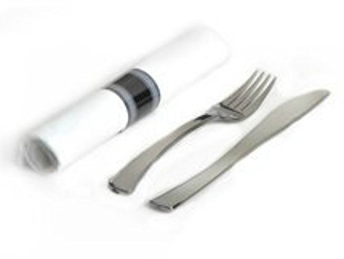 (200 Elegant Pre Wrap Disposable Plastic Silverware Sets Silver Fork Knife White Linen-Quality Paper Napkin Roll Cutlery Sets Great Pre Rolled Cutlery in Linen-Feel White Napkins )