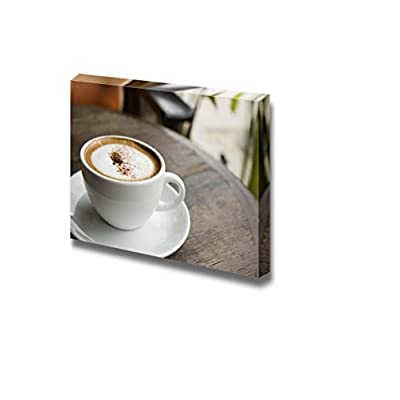 Canvas Prints Wall Art - A Cup of Hot Cappuccino Coffee on Table at an Outdoor Cafe | Modern Wall Decor/Home Art Stretched Gallery Canvas Wraps Giclee Print & Ready to Hang - 16