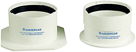 IMMERGAS S.P.A. 3.012087 Immergas - Kit de alicates lanzados 3.012087 para aspiración de escape de humos 80/80, color blanco