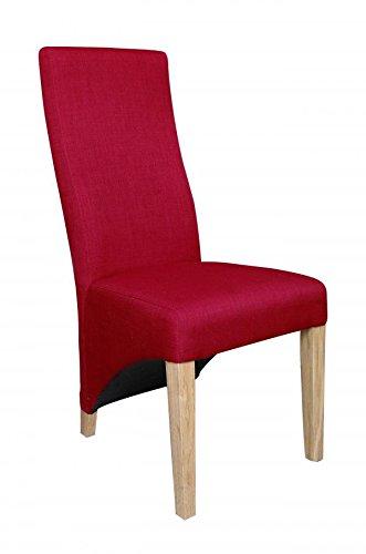 Indiana Eiche Möbel Leinen Effekt rot Stuhl Paar