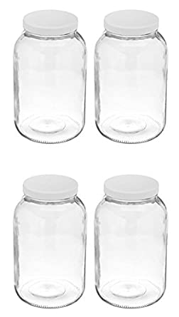 ad863529cbfe 4 Pack ~ Wide Mouth 1 Gallon Clear Glass Jar - White Lid with Liner ...