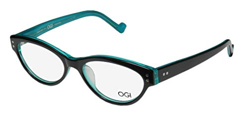 Ogi 3067 For Ladies/Women Cat Eye Full-Rim Shape Colorful Upscale Vision Care Eyeglasses/Eyewear (52-16-140, Black/Teal) (Designer Cat-eye-brillen)