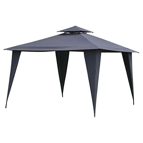 11'X11' Gray Solid Steel Frame Gazebo Patio Canopy Tent Outdoor Party Shelter (Barn Style Portable Garage Canopy)