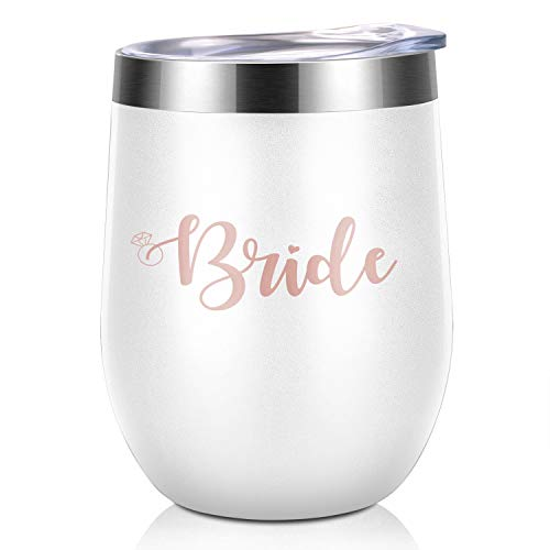 BabyPop! Bride Bachelorette Party Stainless Steel Rose Gold Wine Tumbler | Bridesmaid Wedding Gift Celebration | Durable Wine Glass Decorations by BabyPop!