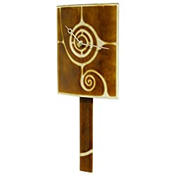 River City Clocks Curved Brown Glass Clock with Pendulum and Swirl Design