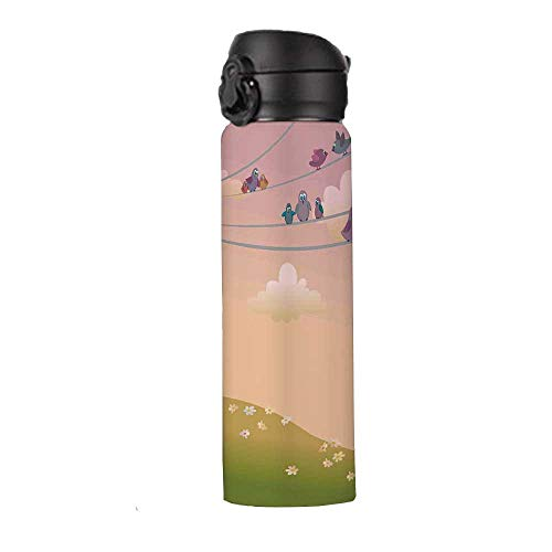Flying Birds Decor Stainless Steel Hydration Bottle,Cute Cat Looking to the Birds Sitting on Electric Wires Fandom Community Art Print Home Thermos,9