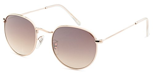 Stylle Round Unisex Sunglasses - Gold Metal Frame with Brown - Sunglasses Stylle