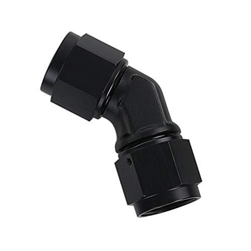 Black Aluminum 45 Degree Swivel Female 4AN to Female AN4 Coupler Union Fuel Line Hose Adapter ()