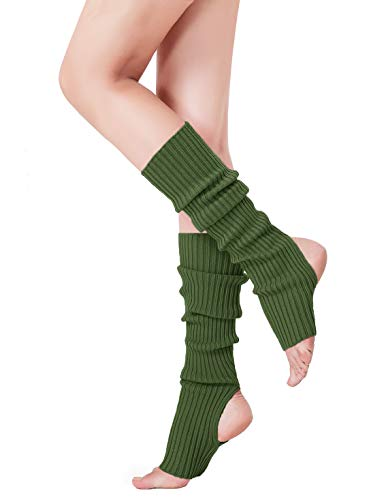 V28 Women Winter 80s Eighty's Warm Costume Marathon Knit Long Socks Leg Warmers (Thole48-army -