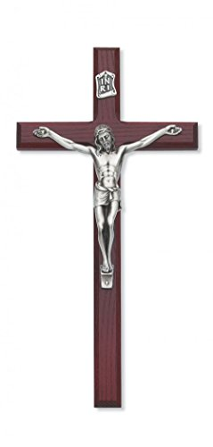 10 Inch Cherry Crucifix with Silver Corpus Gift BOX Included Made in the USA