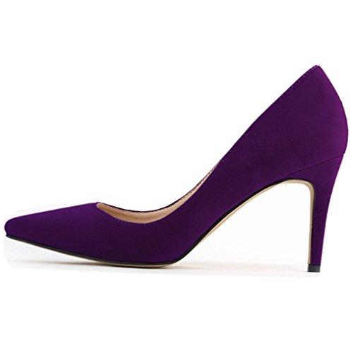 (SAMSAY Women's Fashion Pointy Toe High Heels Pumps Dress Shoes Purple Velvet)