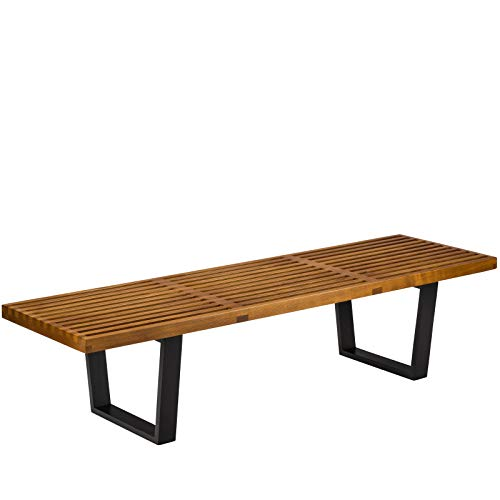 Slat Back Bench (Poly and Bark Slat 5' Bench in Walnut)