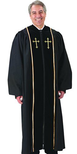 Black Pulpit Robe with Beautiful Gold Embroidery (57 Large 5'10'' - 5'11'' Height. 57'' Back Length. 34'' Sleeve Length) by Catholic Factory Outlet