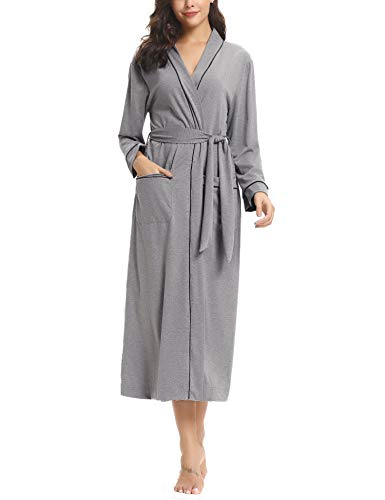 Sykooria Womens Lightweight Cotton Knit V-Neck Long Kimono Robes Bathrobe Soft Sleepwear Loungewear ()