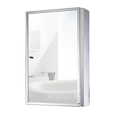 "HomCom 24"" x 16"" Stainless Steel Bathroom Mirror / Medicine Cabinet"