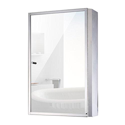 "HomCom 24"" x 16"" Stainless Steel Bathroom Mirror / Medicine Cabinet (Medium Bathroom Medicine Cabinet)"