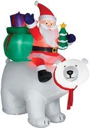 CHRISTMAS INFLATABLE 6' SANTA ON POLAR BEAR