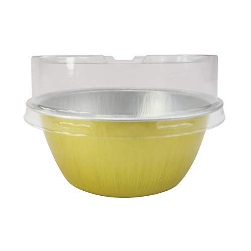 KitchenDance Disposable Aluminum Colored Baking Cups- Creme Brulee cups- Dessert Cups- 4 oz. Size with Lids (100, Gold w/Stackable Lid)