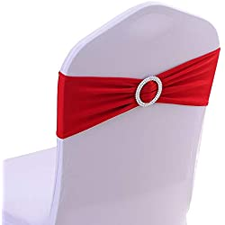 iEventStar Spandex Chair Sash Cover Stretch Band Buckle Slider Sashes Bow Hotel Wedding Banquet Decoration (50, Red)
