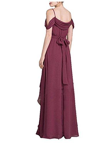 Bretelles Spaghetti Blush Sexy Robes De Demoiselle D'honneur Robe Longue En Mousseline De Rouge Rouille Divisée