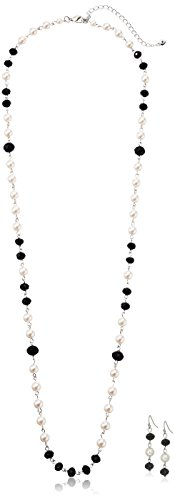 Silver Tone Simulated Cream Pearl and Jet Long Rosary Necklace, 34